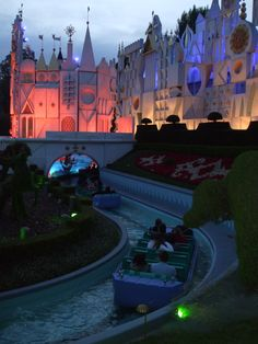Love the light and color of twilight in this shot. It's a Small World, Disneyland