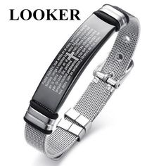 Men's Stainless Steel Sleek Mesh and Spanish Bible Lord's Prayer Cross Tag Adjustable Bracelet for Men Male Jewelry