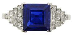 Art deco sapphire and diamond ring.  Marked platinum, circa 1930.
