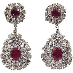 Preowned Ruby Diamond Platinum Dangle Earrings (2.083.810 RUB) ❤ liked on Polyvore featuring jewelry, earrings, multiple, oval earrings, diamond earrings, long earrings, ruby earrings and ruby dangle earrings