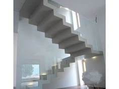 U-shaped self supporting Open staircase 700 by Interbau Suedtirol Treppen U Shaped Staircase, Narrow Staircase, Concrete Staircase, Floating Staircase, House Stairs, Facade House, Home Stairs Design, House Design, House Layouts