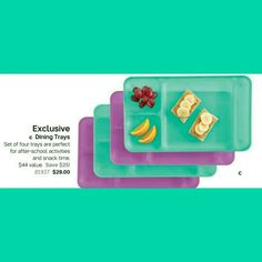 Anybody else remember these??? #Tupperware #DiningTrays We use to eat off these at home in front of the TV, in the car, for family holidays, or picnicking.... We used them also to bare down on while coloring or drawing pictures or painting. #GreatForKiddos Welp.... there back for a limited time July 9 - 29th #Exclusive in the #NewJulyBrochureInformation  Set of 4 for $29 (plus tax & shipping) Value of $44  #TupLove #TupKids Contact me or Shop my website www.my.tupperware.com/mccoytupperware