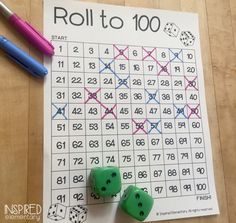 There are so many fun games that can be played with a 100 Chart! One of my favorites is Roll to This is a game that I created as a low-prep, fun, place value center for my second graders…… Kindergarten Math Games, Fun Math Games, Math Classroom, Teaching Math, Math Activities, Future Classroom, Classroom Ideas, Dice Games, Educational Activities