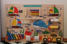 """Busy Board """"Sea"""", Activity Board, Sensory Board, Montessori educational Toy, Wooden Toy, Fine motor skills board for toddlers & babies"""