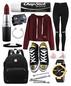 """Untitled #316"" by mcrsarah ❤ liked on Polyvore featuring Topshop, Converse, Gucci, BOBBY, Chapstick, MAC Cosmetics and Miss Selfridge"