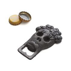 Rustic cast iron bottle opener is inspired by the Day of the Dead holiday. Skull design has an aged, vintage look, adding a bit of spookiness to the Halloween bar. Cast ironClean with dry clothMade in China. Halloween Kitchen, Holidays Halloween, Halloween Ideas, Crate And Barrel, Drink Dispenser, Signature Cocktail, Bar Accessories, Linen Napkins, Skull And Bones