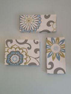 Cheap wall art: Fabric covered SHOE BOX LIDS!!!!!