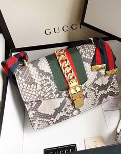 Gucci Sylvie Snake Shoulder Bag Gray. View more Gucci handbags at http://www.luxtime.su/gucci-bags