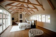 Suite False Bay View, one of the 7 suites of De Verdwaalde Boer Colonial Architecture, Architecture Design, Bed In Middle Of Room, Exposed Trusses, Cape Dutch, Attic Spaces, African Design, Dream Bedroom, Master Bedroom