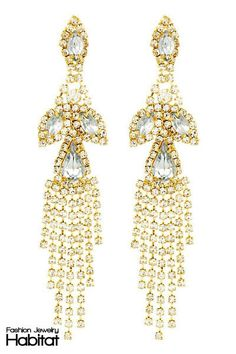Uplifting Crystal Chandelier Earrings -  $17.0at FashionJewelryHabitat.com - #FashionJewelryHabitat #FashionHabitat