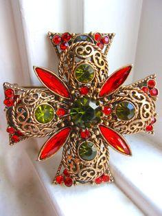 Rhinestone Maltese Cross EMMONS Brooch Orange by RenaissanceFair