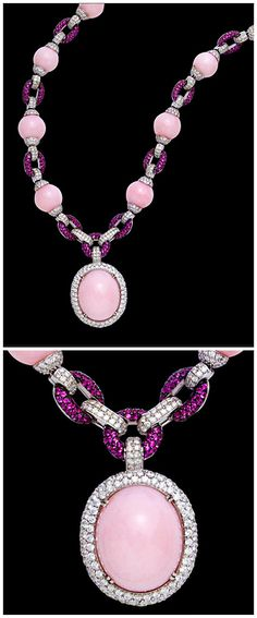 ReinaIndy A pink opal, diamond and pink sapphire pendant necklace,   composed of pink opal beads, graduating from 12.20 to 10.10mm., joined by pavé-set round brilliant-cut diamond and circular-cut pink sapphire links,
