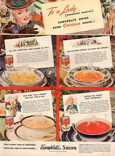 """1941 Campbell's Soup Christmas Cheer Original Print Ad -An original vintage 1941 advertisement, not a reproduction -Measures approximately 10"""" x 13"""" to 11"""" x 14"""" -Ready for matting and framing."""