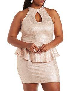 Plus Size Mock Neck Peplum Dress: Charlotte Russe