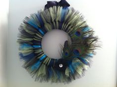 Large Peacock Tulle Wreath