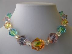 Vintage 1940s Large Bi Color Rainbow Crystal Art Deco Glass Necklace | eBay