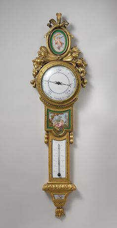 Barometer-thermometer by Claude-Siméon Passemant Artist: Porcelain… Old Clocks, Antique Clocks, Vintage Clocks, French Furniture, Antique Furniture, Maker Culture, Clock Movements, Bronze, Grandfather Clock