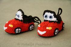Baby-Schuhe Auto - roter Rennwagen