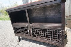 Industrial Design Media Table with Reclaimed by FrontRangeForge, $1600.00