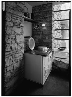 57. AGA COAL-BURNING STOVE IN SOUTHEAST CORNER OF KITCHEN. - Fallingwater, State Route 381 (Stewart Township), Ohiopyle, Fayette County, PA