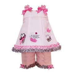 Rare Editions Baby/NEWBORN 3M-9M 2-Piece PINK WHITE CHECKERED SEERSUCKER TRIPLE CUPCAKE APPLIQUE Girl Party Dress/Short Set $29.90