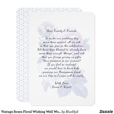 Pretty floral wishing well cards with custom message to guests.  Tactfully ask for money and not gifts with pretty cards tucked inside invitations to a wedding or shower. #wishingwellwording #nogifts #weddinggifts #enclosurecards #vintagefloral