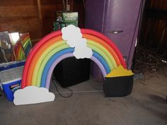 Pool noodles turned rainbow for Wizard of Oz decorations at this years movie themed Relay for Life