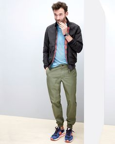 J.Crew men's Baracuta G9 harrington jacket, lightweight chino jogger pants, and New Balance for J.Crew special edition 990 sneakers in indigo flame. (Apr. 2015)