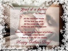 "These can be seen in the heart of a father Love is his richest anchor I shout a cheer for you daddy Happy Father's Day! ""Heart of a Father"" by Easyday Fathers Day Poems, Cool Fathers Day Gifts, Fathers Love, Happy Fathers Day, Big Sister Little Sister, Little Sisters, Christian Poems, Love You, My Love"