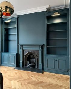 My first install after my paternity leave with these tall alcove cabinets spray finished in 'navy masterpiece' Dark Living Rooms, Living Room Green, New Living Room, Alcove Ideas Living Room, Living Room Storage, Living Room Designs, The Design Files, Küchen Design, Living Room Cupboards