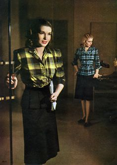 Plaid fashions for the office from Charm Magazine's May 1945 edition. Photo by Earl Scott. #vintage #1940s #fashion