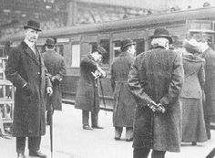 Wealthy passengers on the Titanic- man on the left is John Jacob Astor