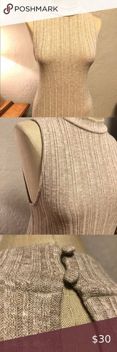 "Anthropologie butter soft ribbed mock neck top szS Anthropologie Pure + Good ribbed top. Mock neckline. Cream/Taupe color size small.  Bought new, never worn.  Two button loop closures at back of neck. Key hole at back, below button loops. Front and back of top scallop downwards.   Measurements (taken laying flat/unstretched) Bust: 29"" Waist: 28"" Hip: 31"" Length of top: 28.5 Anthropologie Tops Blouses"