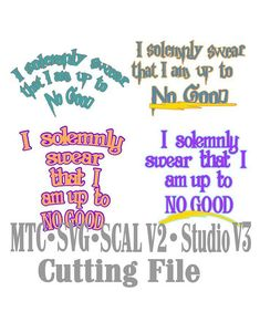 SVG Bundle of 4 Cut File Quote Harry Potter Up To No Good