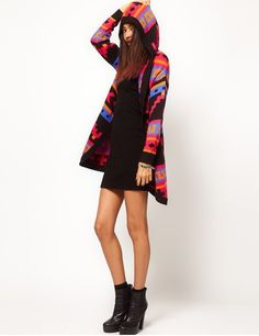 Tribal aztec hooded cardigan, women aztec hooded cardigan with ...