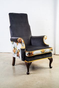 'Joan', one of Velvet Eccentric's favourites. Charcoal velvet with stunning dove grey & yellow-gold vintage floral & gold piping highlighting every line, every curve of this beauty