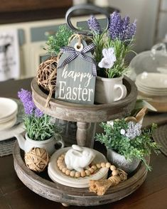 Your place to buy and sell all things handmade Happy Easter Tag / Easter Signs / Farmhouse Decor / Spring Decor / Wood Tags / Tiered Tray Decor Easter Tag, Happy Easter, Easter Party, Easter Bunny, Decoracion Habitacion Ideas, Tray Styling, Wood Tags, Tiered Stand, Spring Home Decor
