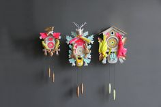 Large Neon Pink & Green Cuckoo Clock. Working by GallivantingGirls, $245.00