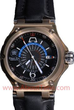 View this Anonimo Watch at About Time Watch Company by Clicking Here http://www.abouttime.com/abouttime/11019-black-strap.invt.htmlhttp://www.abouttime.com/abouttime/7001-bnz-grn  Anonimo Dino Zei Aeronauta World Time Bronze Watch   Model #11019-black-strap