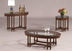 Canton Heights Traditional Dark Berry Wood Glass Oval Coffee Table Set