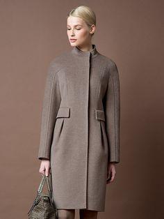 Пальто женское цвет холодный бежевый, пальтовая ткань, артикул 1015070p10004