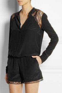 Lace-trimmed silk playsuit