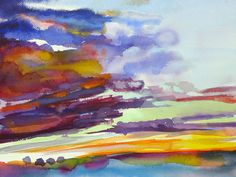 "Wet Clouds, watercolor, 24"" x 18"""