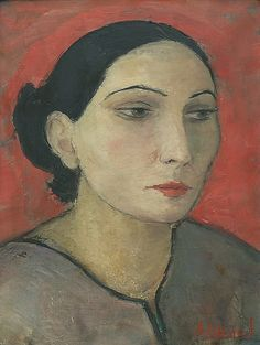 Portrait of a Woman (c. 1920-1930's) by Dietz Edzard (1893-1963), German - he avoided the experimental art of his contemporaries and deliberately, avoided the representation of human conflict and inner discords and the chaos and shifting quicksands of modern existence. Instead, he preferred well-defined modes of expression, as in portraits by Velazquez and Goya and continued by Manet and Renoir (odonwagner - invaluable)