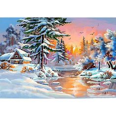 Winter Landscape Diamond Mosaic Embroidery Sets Home Decor Needlework Crafts Diamond Painting Scenic Picture of Rhinestone Dream Pictures, Winter Pictures, Christmas Scenes, Christmas Art, Polymer Clay Painting, Art Timeline, Winter Painting, Pintura Country, Winter Scenery