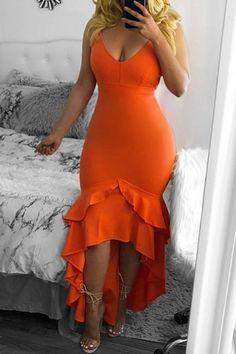 Orange Cascading Ruffle Spaghetti Strap High-Low Bodycon Backless V-neck Party Maxi Dress - Maxi Dresses - Dresses Classy Dress, Classy Outfits, Dress Outfits, Fashion Dresses, Sexy Dresses, Orange Dress, Spaghetti Strap Dresses, Look Fashion, Beautiful Dresses