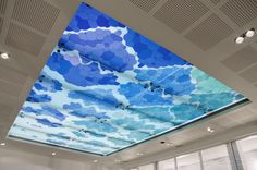 'Bubble' Unique custom glass skylight design - 2011 Together with the renovation of the police station Bureau Hoefkade, a large piece of glass design is installed in the conference room. A fenomenal work, measuring 7 by 4,5 metres creates a different effect troughout the day. The design, made by Iris van Daalen and the production process are especially developed for this project.