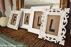 DIY Framed Burlap letters & more fall Decor at lizmarieblog.com