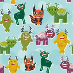 Funny monsters Set. seamless pattern on blue background. Vector Royalty Free Stock Vector Art Illustration