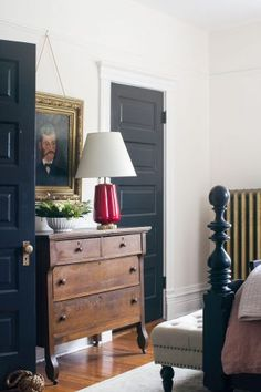 Vintage Wooden Dresser Between Black Painted Doors in the Bedroom | Making it Lovely's One Room Challenge Bedroom